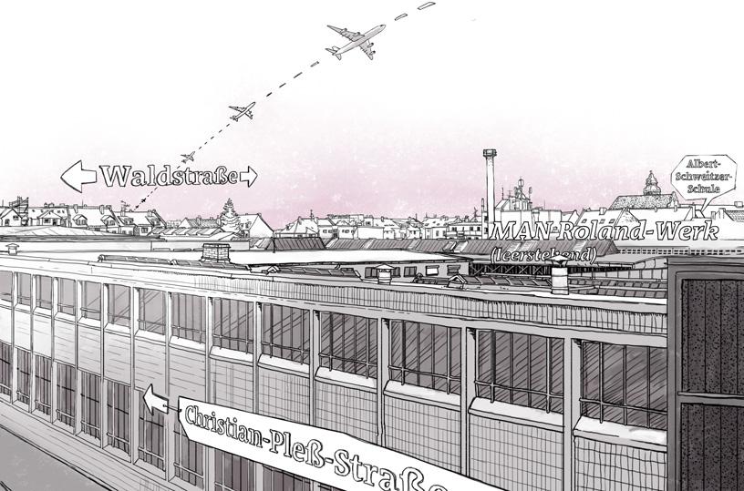 Digital kolorierte Fineliner Zeichnung. Blick aus meinem Fenster über das Geländer des alten MAN Roldand Werks in Offenbach.