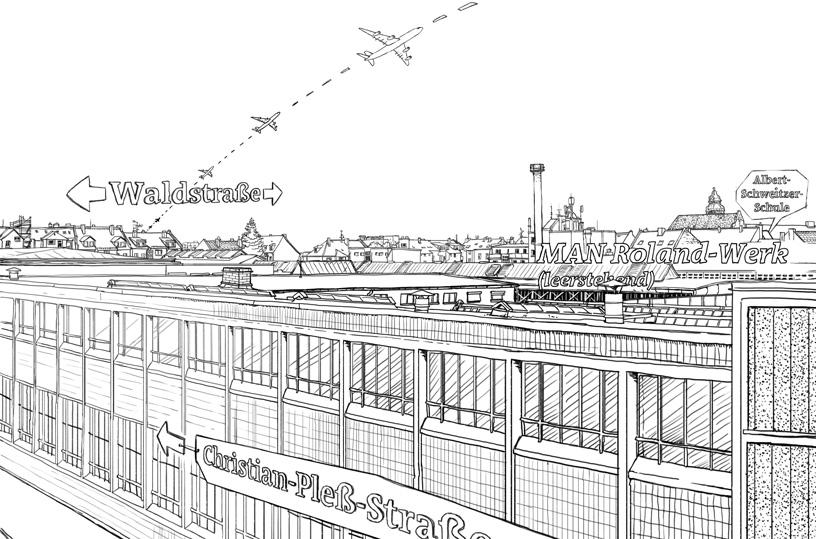 Fineliner Zeichnung. Blick aus meinem Fenster über das Geländer des alten MAN Roldand Werks in Offenbach.
